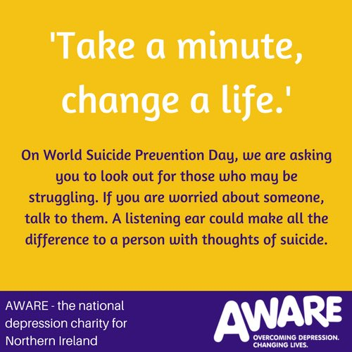 """aware on twitter \""""on worldsuicidepreventionday reach out to thosehere\u0027s tips on how to talk to someone with depression www aware ni org helping someone with depression html \u2026pic twitter com 3asgv5qu5l"""