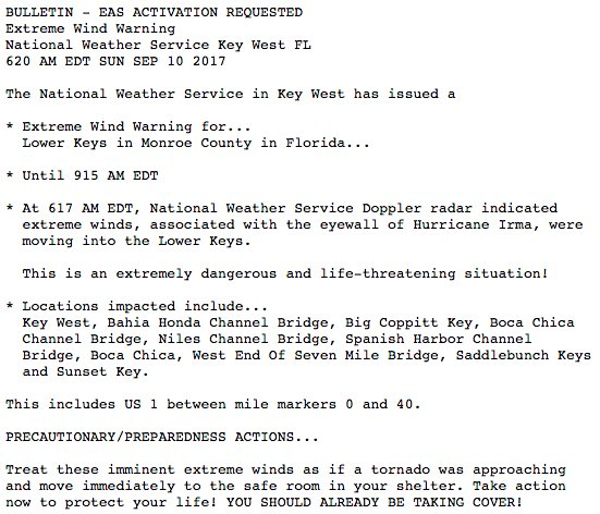 """There it is...the """"extreme wind warning"""" for the #Irma eyewall, via @NWSKeyWest. https://t.co/rS5T6OZlpi"""