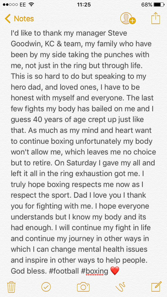 Thank you #Boxing but it's time. One love. ❤️ https://t.co/NBUs4oR0bI