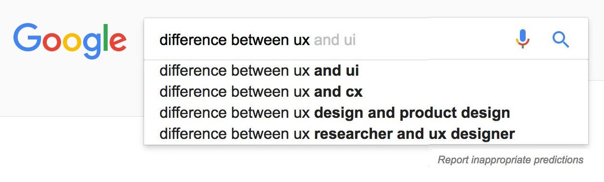 UX 设计的现状。按照 google 搜索的自动提示,来判断 UX 设计的现状,有意思 // The state of UX according to autocomplete https://t.co/26w0lf1BDT https://t.co/mYJwxIWxrn 1