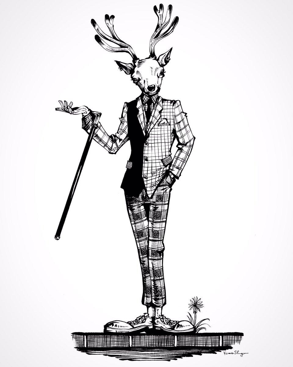"""クロセシンゴ on twitter: """"過去作品、鹿男。 #絵 #イラスト #アナログ"""
