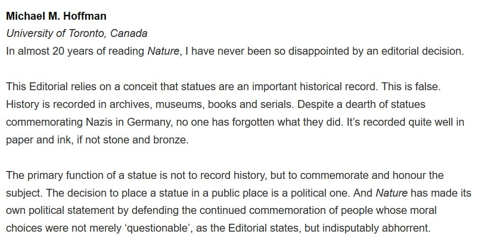 """Nature published my response to their """"whitewashing history"""" editorial https://t.co/5VygbaMOht https://t.co/kd6QzYuK39"""