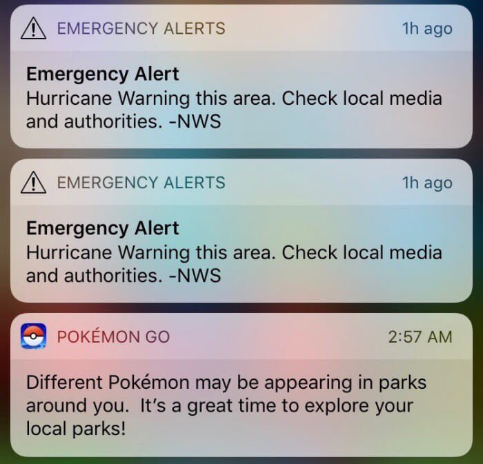 RT @ReturntheHunter: Pokémon Go trying to murder people #HurrcaneIrma https://t.co/1ENqNUPO9p