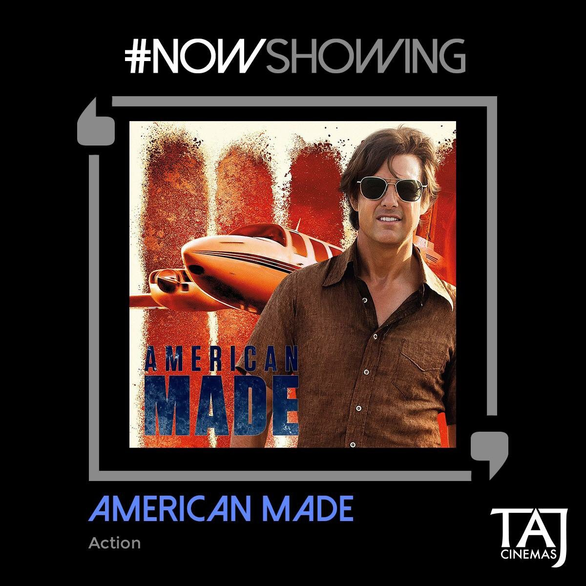 #NowShowing #Action #Biography #Comedy  Guns,Drugs,Money laundering. Based on an unbelievable true story,watch the #AmericanMade @TajCinemas https://t.co/2MvYp032I9