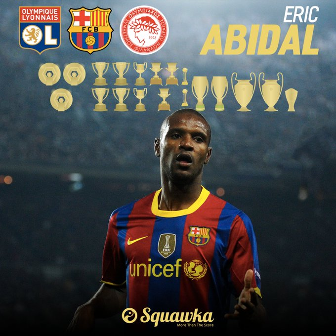 Happy 38th birthday to Éric Abidal.      LaLiga   Ligue 1  Champions League  18 career trophies in total.