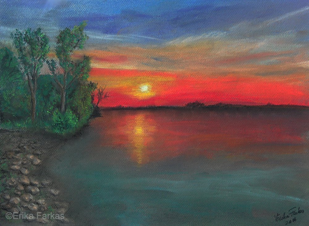 &quot;Lake Sunset&quot; by Erika Farkas. View during #Reflections until September 24. #fineart #CanadianArtist #OttawaGallery #pastels #lakesunset<br>http://pic.twitter.com/QxSba3gaxv