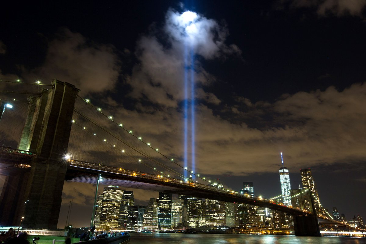 In preparation of the anniversary of 9/11, we will be testing #TributeinLight this evening. #LookUp #NYC https://t.co/AjC1V0GOhA
