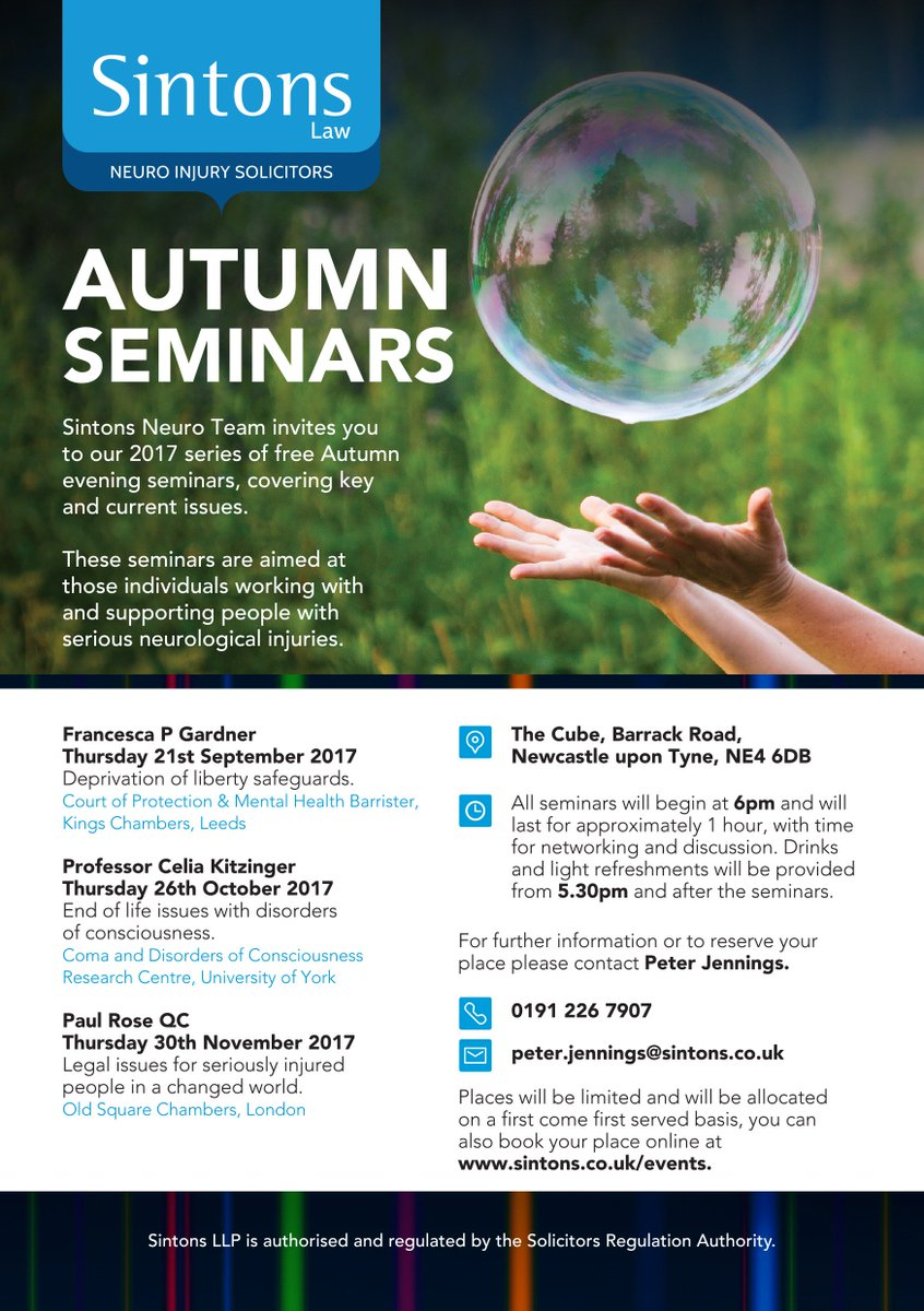 Still time to register for our free Autumn 2017 evening Seminars starting this month  http:// goo.gl/eSsAnB  &nbsp;    #Neuro #SeriousInjury<br>http://pic.twitter.com/jMfloFLjO4