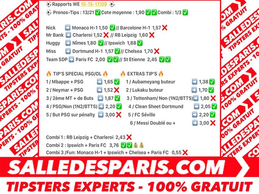 Rapports complet WE 15/0913/21CT MOY 1,90RT #TeamPSG #PSGOL #neymarjr #Ligue1 #PSG #mbappe #ICICESTPARIS #ASMonaco #BVB #ParisFC<br>http://pic.twitter.com/EyWH9zRK4X