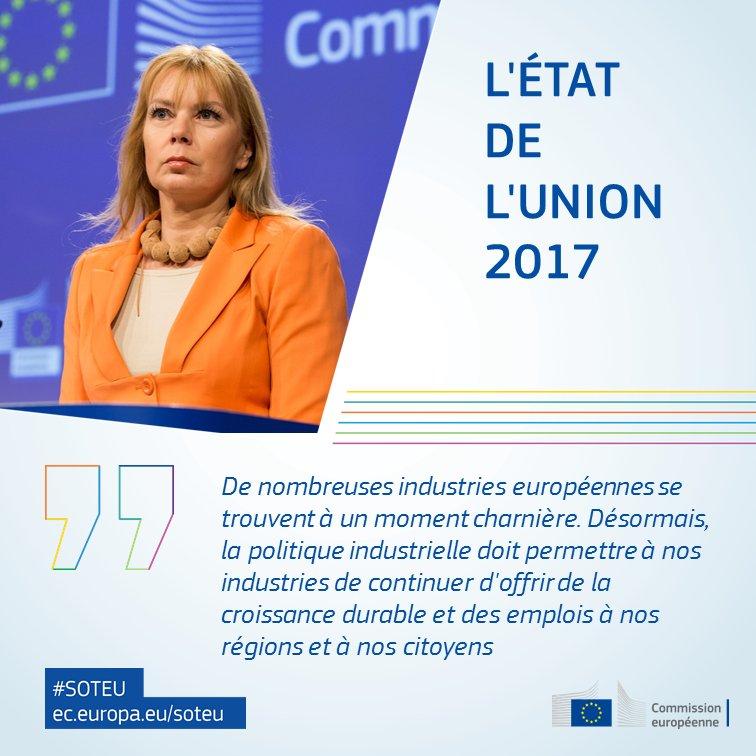 'Le monde change très vite et l'industrie européenne doit s'adapter pour rester competitive' @EBienkowskaEU #SOTEU > https://t.co/bnTSzvU5WB