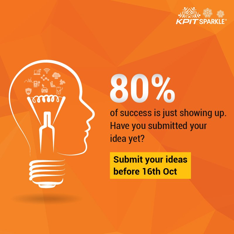 Already registered? Great! it&#39;s time to submit your ideas before 16th Oct to be a part of #KPITSparkle 2018  https:// goo.gl/K5GkF3  &nbsp;  <br>http://pic.twitter.com/uNON49cpyo