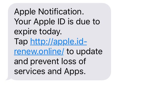 Watch out. Looks like another Apple ID scam text. Do not click on the link!!  Spread the word. https://t.co/eNtuEvi6MX