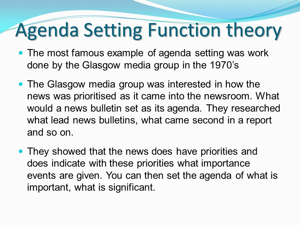 agenda setting theory examples in pakistan Agenda setting theory examples in pakistan essay sample media play a important function in every country's success it helps the state to accomplish its aims by foregrounding the jobs of its citizens and it can botch everything by deviating the attending of people from of import issues.