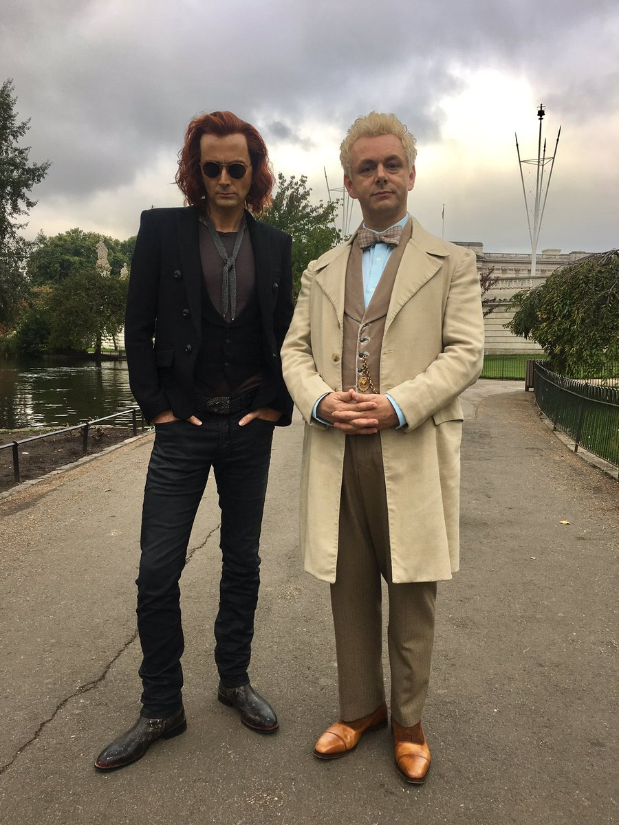 David Tennant and Michel Sheen in costume for Good Omens