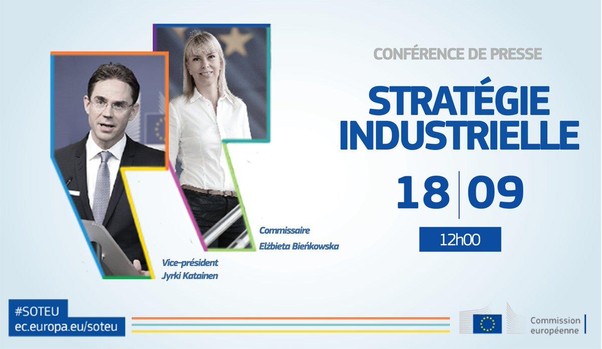 .@jyrkikatainen et @EBienkowskaEU en salle de presse à 12h pour décrypter le discours d'@JunckerEU sur la stratégie industrielle #SOTEU