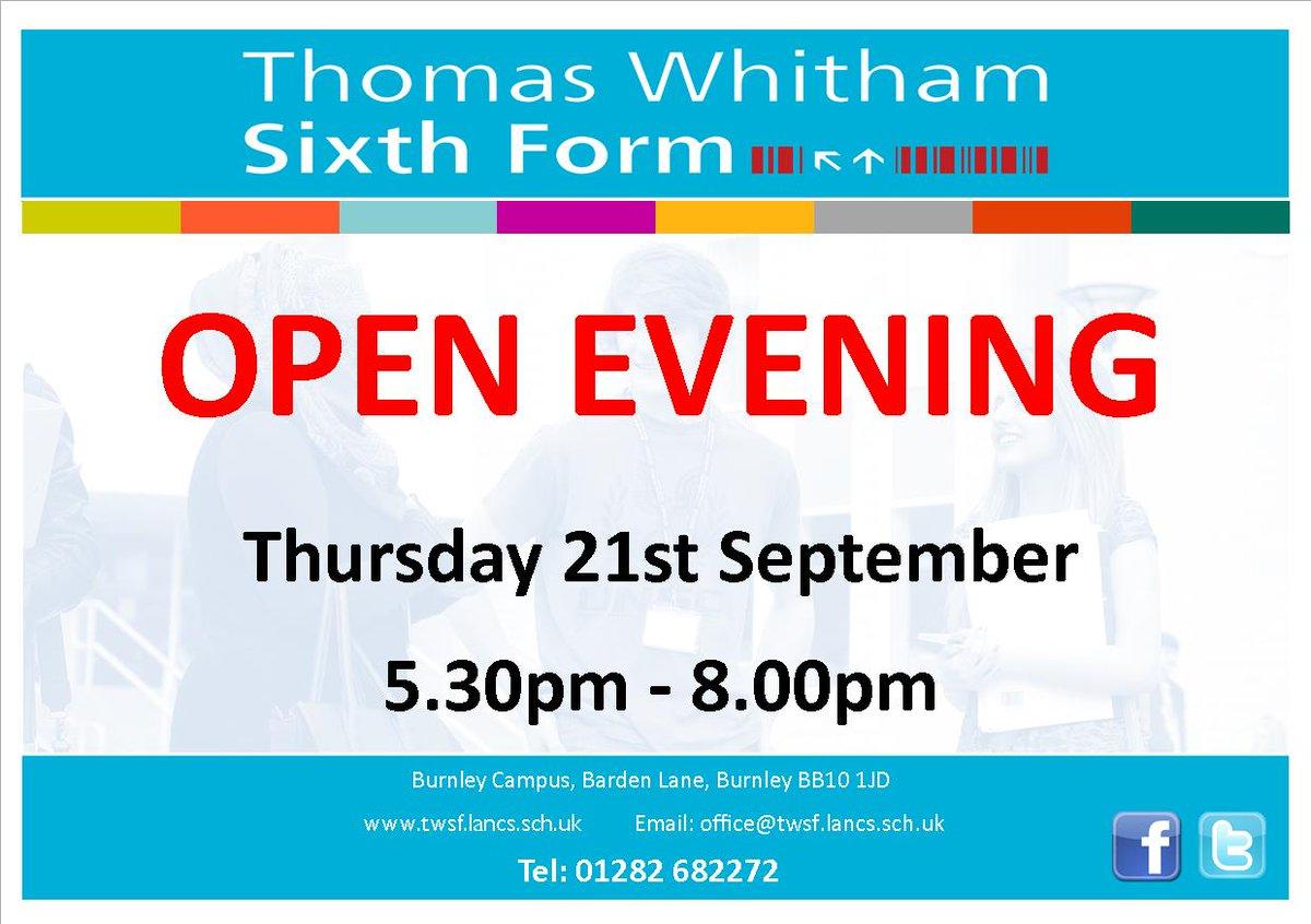 Thursday 21st September @TWSFBurnley Open Evening #alevels #technical <br>http://pic.twitter.com/TpT0Y2vVDA