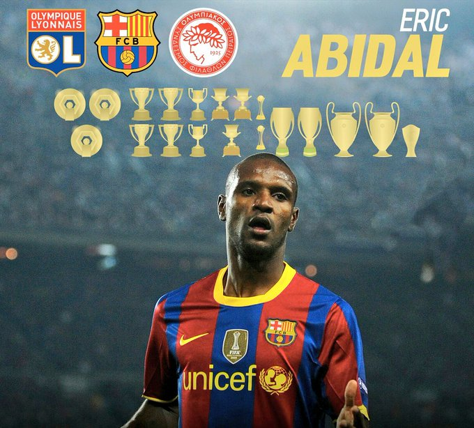 Happy 38th birthday to Éric Abidal.              18 career trophies in total.