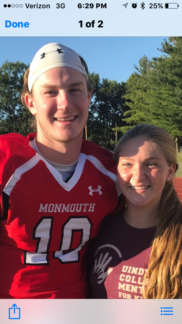 Olivia went to see her BFF Gavin win his football game at Monmouth college !