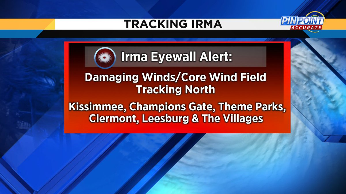 Eyewall of #Irma will be moving north thru Kissimmee, Theme Parks, Clermont, Leesburg, The Villages https://t.co/3LeeD3LY7z