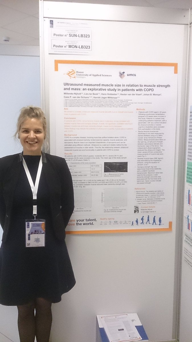 Presenting @WillemkeNijholt poster on ultrasound measured muscle in COPD at start of pulmonary rehab #ESPEN2017 @UMCGRevalidatie @Hanze_HA<br>http://pic.twitter.com/ZrOCeQKMxQ