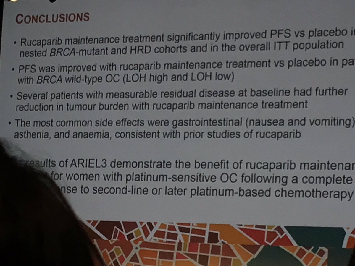 Packed hall for ARIEL 3 data, fantastic for patients, #ESMO2017, great to see 14 years after first #CRUK trial in @CRUKNewcastle<br>http://pic.twitter.com/DXPj0Ch3bl
