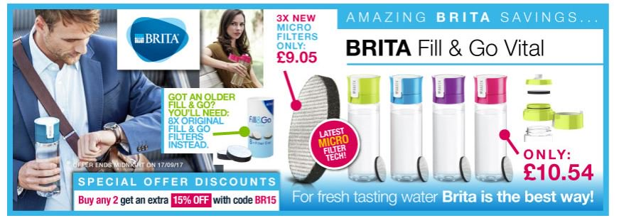 Save 15% on @BritaUK Fill&amp;Go Bottles/Filters when you buy 2 or more  http:// ow.ly/1zDi30f3vWv  &nbsp;    #RT #Follow #Win #MultiBuy  Share <br>http://pic.twitter.com/iNIdoguDhK