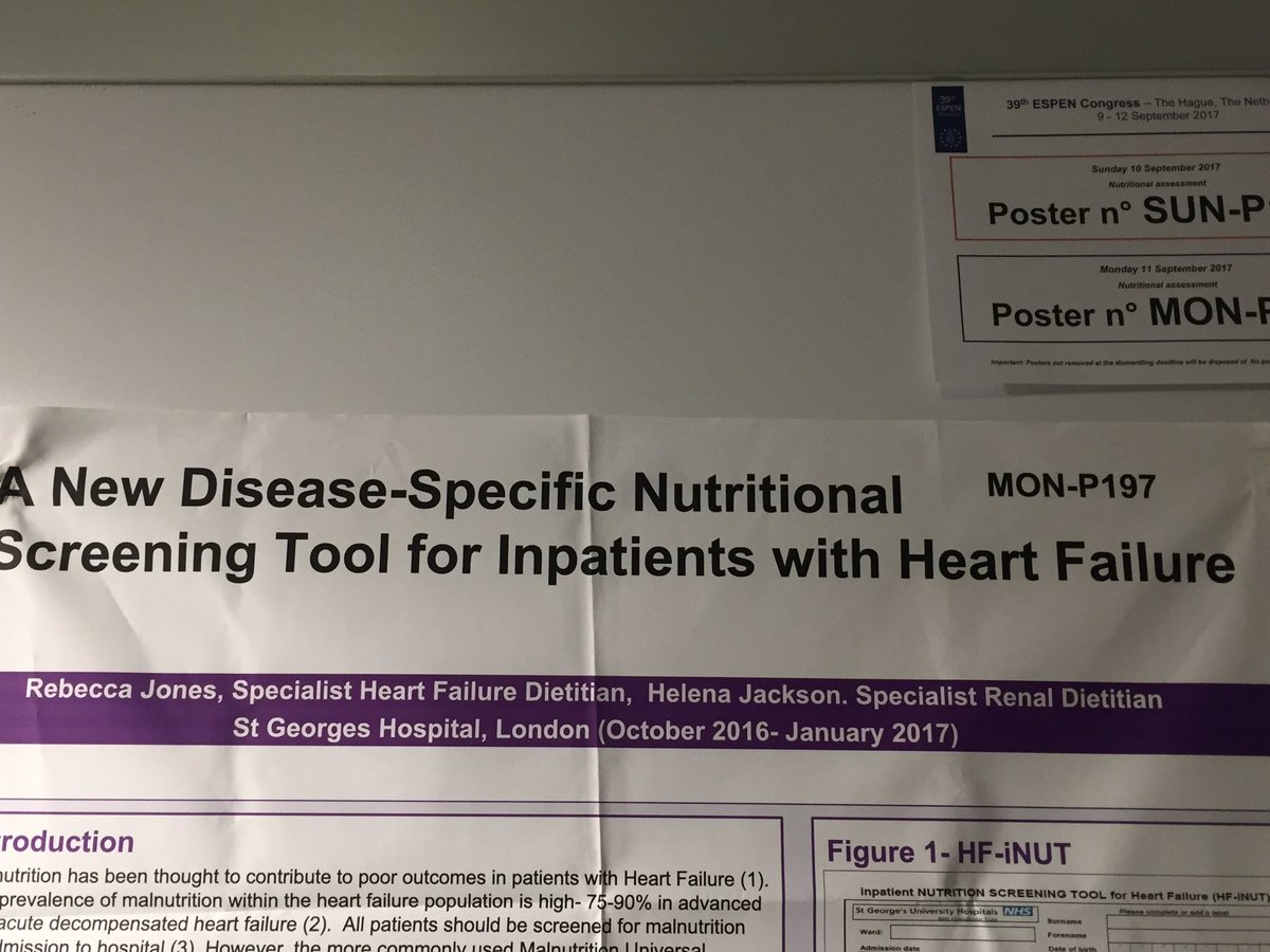 Excited to be showing my poster on malnutrition screening in heart failure patients today at espen #espen2017 #malnutrition #dietitian<br>http://pic.twitter.com/ZD2SRWVJ1n