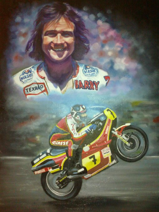 my oil on canvas tribute.. Happy birthday to the great Barry Sheene RIP