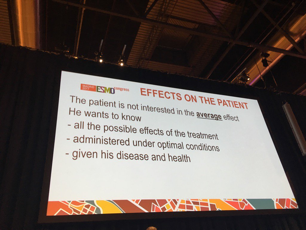 VERY true- &#39;Patient not interested in the average effect&#39;. Paolo Bruzzi #esmo2017 <br>http://pic.twitter.com/90JH2JXLxN
