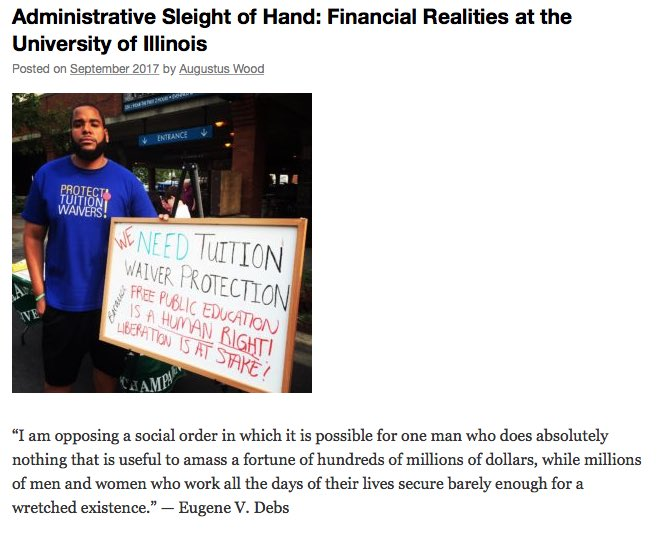 Financial reality: @illinois_alma &quot;has more money than it has ever had before&quot; #ILLINOIS #GradWorkers #WeAreWorkers  http:// publici.ucimc.org/administrative -sleight-of-hand-financial-realities-at-the-university-of-illinois/ &nbsp; … <br>http://pic.twitter.com/BP2ujNMHs2