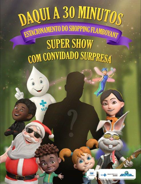 Daqui 30 min, no Estacionamento d @FlamboyantShopping, Zé Gotinha fará show  c/ convidado especial #VacinarÉProteger