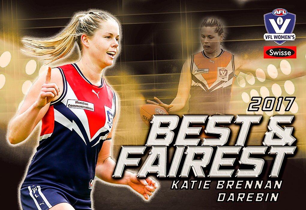 Well done to the 2017 @SwisseAU #VFLWomens B&F - @DarebinFalcons Katie Brennan on 21 votes #VFLBnF https://t.co/Ko83mHzKju