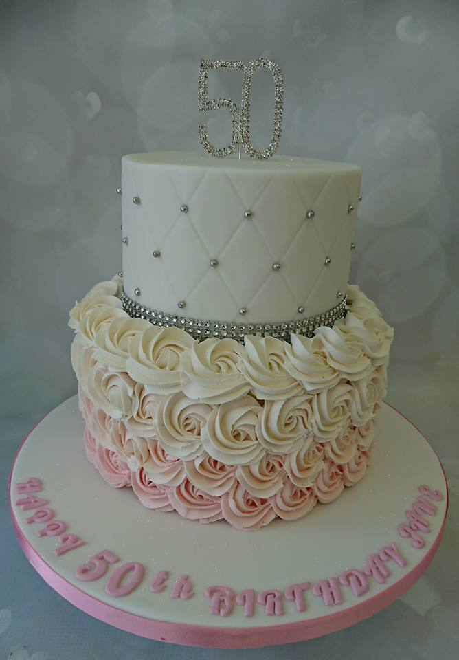 Jane Buttercream Two Tier Purple White And Gold 50th Birthday Cake