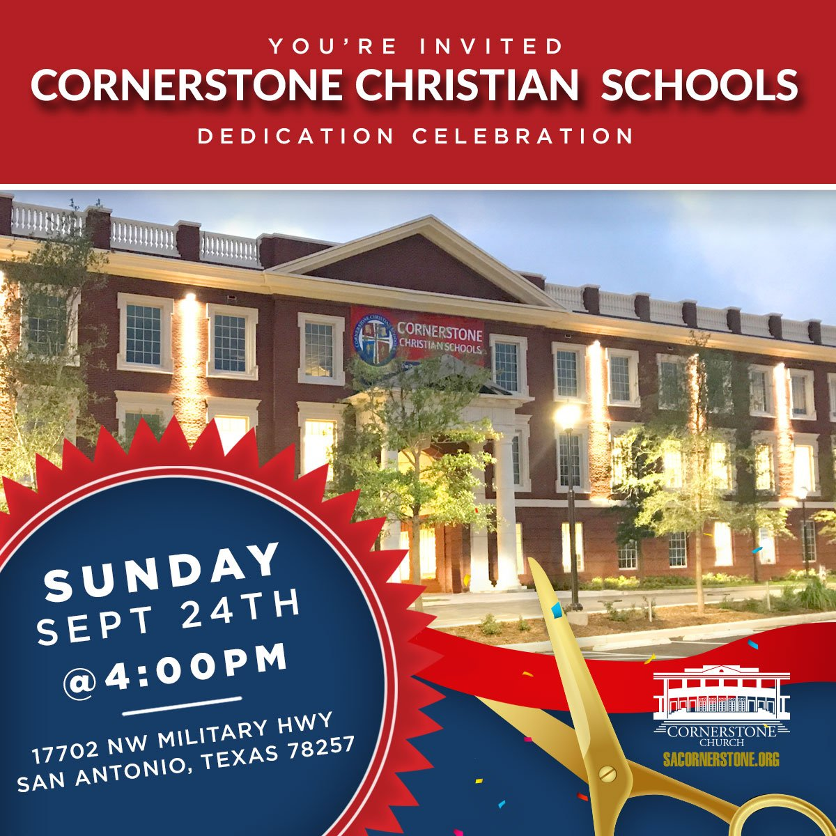 Make plans to join us for the Cornerstone Christian Schools Dedication Service on Sunday, 9