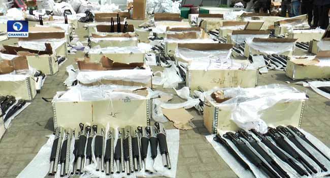 Customs has discovered another cache of 475 pump-action rifles in Lagos port barely 1 week after discovery of 1,100 rifles in Tin Can Island Port.