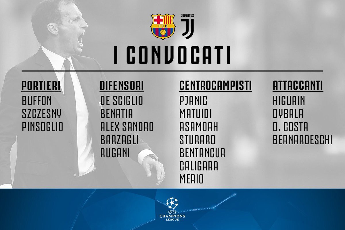 #Juventus squad for the #Barcelona game. #Howedes, #Chiellini, #Khedira, #Marchisio and #Mandzukic are not included.<br>http://pic.twitter.com/69tdlGXYHm
