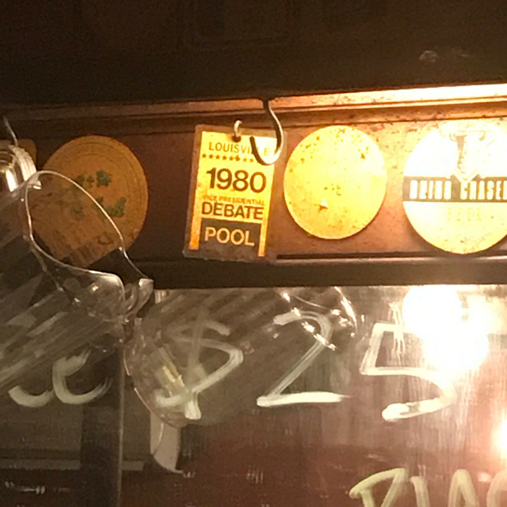 Spotted this in a Manhattan bar recently. But there was no 1980 vice presidential debate! 🤔