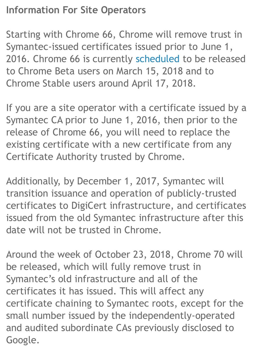 Kevin beaumont on twitter very important information about very important information about ssl certificates issued by symantec being blocked in google chrome action required xflitez Choice Image