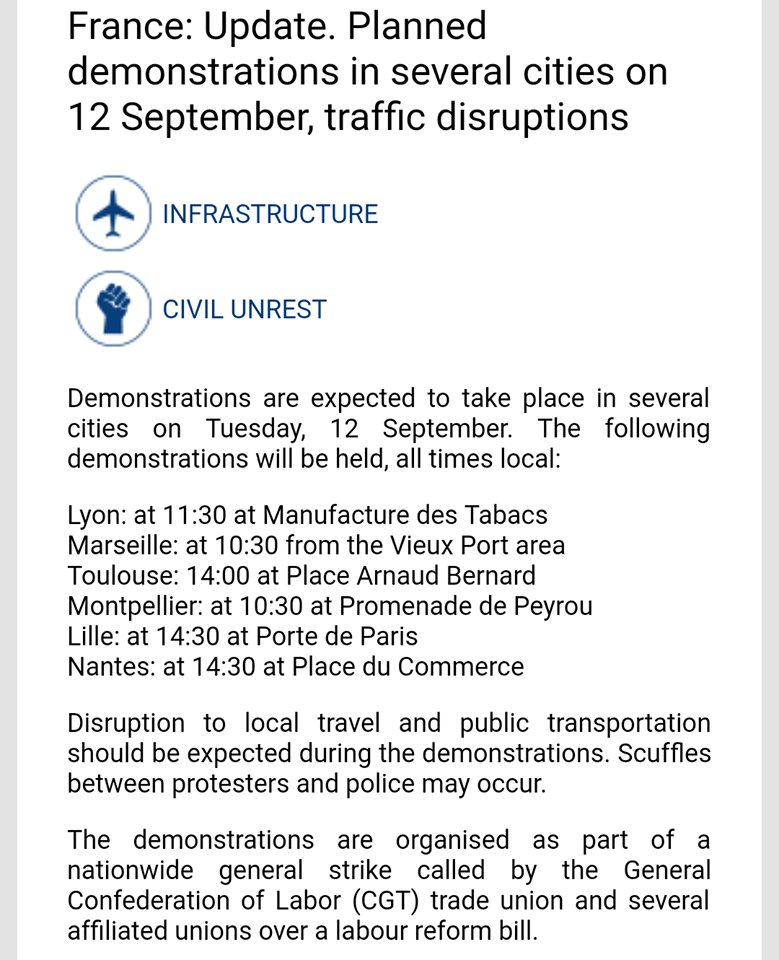 #France - Protests in #Lyon #Marseille #Toulouse #Montpellier #Lille and #Nantes on 12 September  More alerts in-app  http:// app.safeture.com  &nbsp;  <br>http://pic.twitter.com/y3VE2UvD61