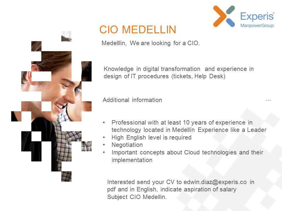 We are currently looking for CIO Bilingual for the city of Medellin. #TrabajoenMedellin #Sihaytrabajo #CIO<br>http://pic.twitter.com/4wti2hBepY