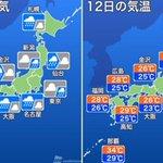 【今日の天気】全国的に雨が降り、一時的に激しい雨の恐れがあります。落雷や突風にも注意が必要です。また…
