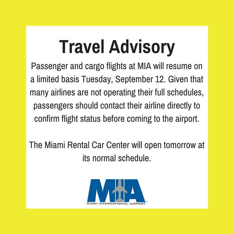 miami int l airport on twitter traveladvisory passenger flights