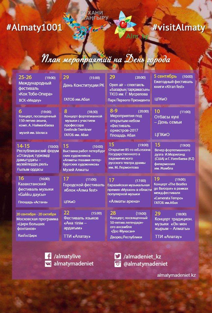 План мероприятий на день города 17 сентября г астрахань