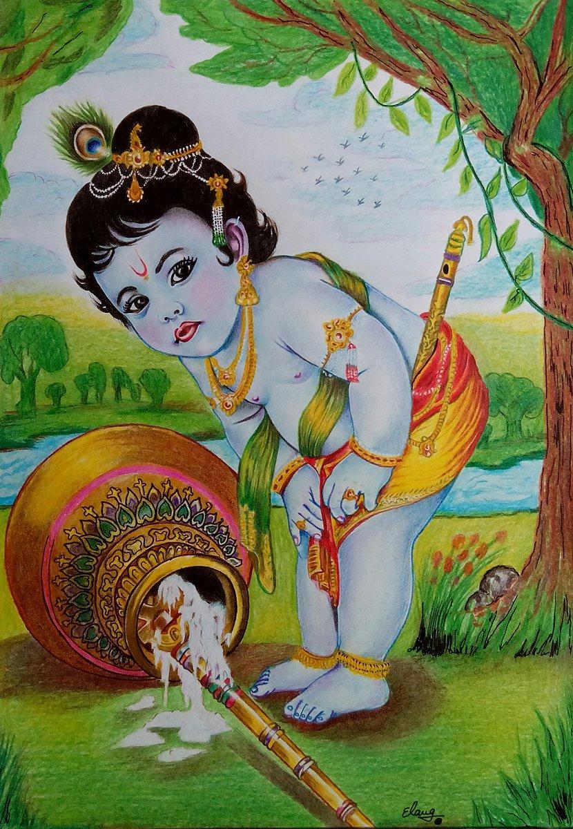 Krishna Drawing Color