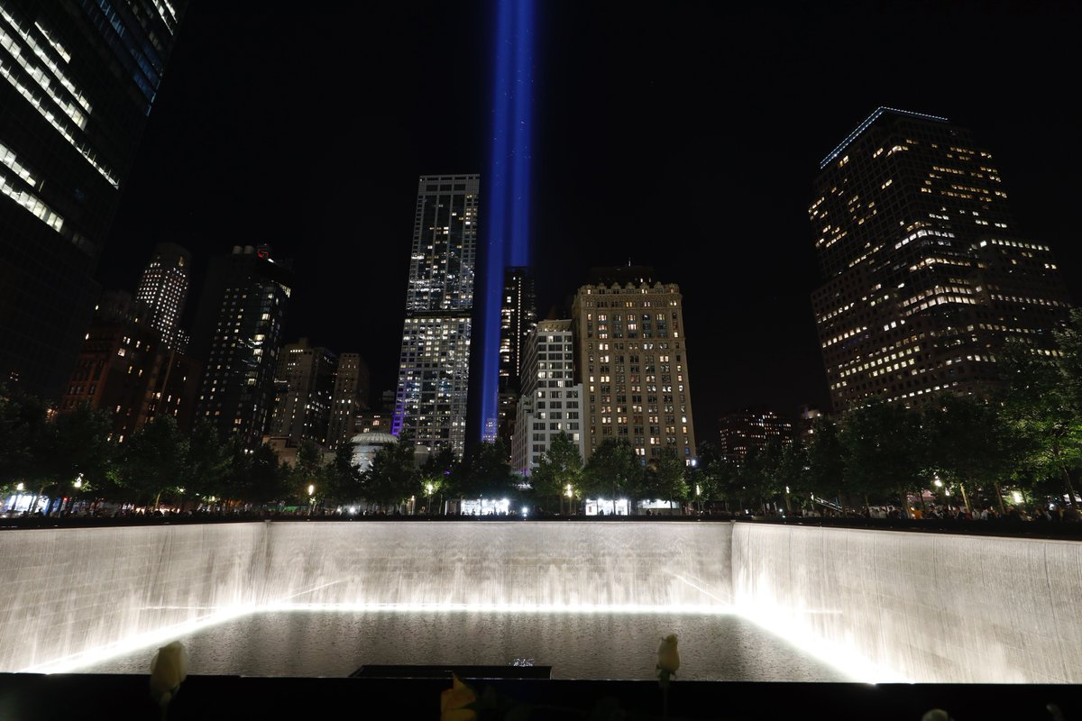 In darkness, we shine brightest. #TributeInLight illuminates the #NYC skyline. #Honor911