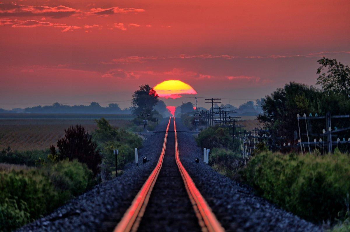 「父は毎年、線路全体に太陽が反射するタイミングを待っている…今日がその日だった」 と投稿された写真が話題を呼ぶ labaq.com/archives/51888…  朝日が反射して、地平線の彼方まで線路が真っ赤に