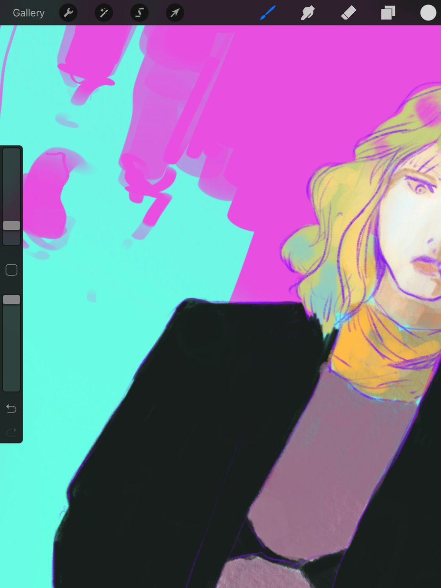 wip shot of an attempted fanart of atomic blonde