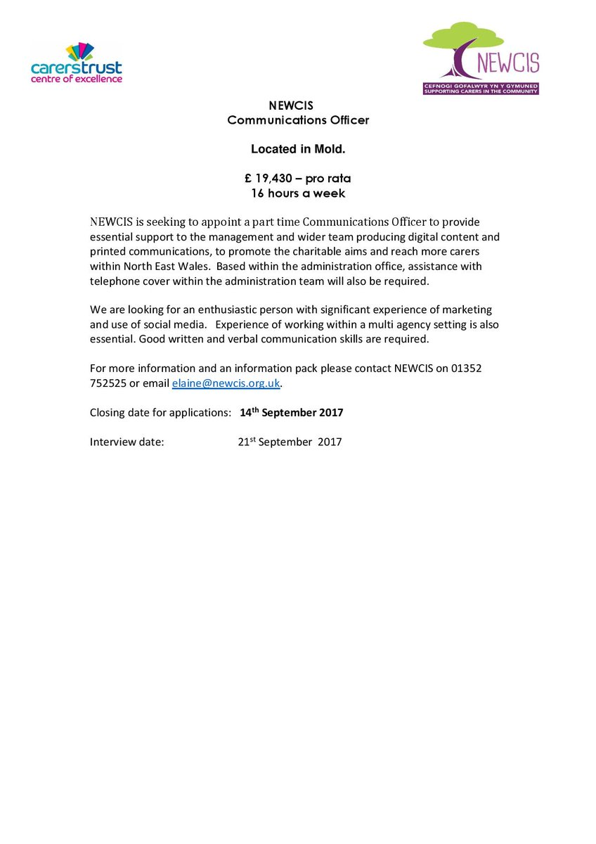 Newcis On Twitter Vacancy At Newcis For A Communications Officer