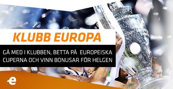 Gå med i Klubb Europa! Spela på #ChampionsLeague och vinn bonusar för helgen #ExpektThatFeeling Anmäl dig: https://t.co/AX16E7Gqj6 https://t.co/NFFW48et50