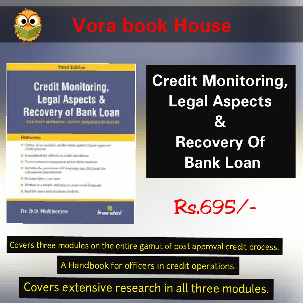 Title -  Credit Monitoring, Legal Aspects &amp; Recovery Of Bank Loan Author -  D.D. Mukherjee Price - Rs.695/-  #vorabookhouse#books <br>http://pic.twitter.com/vPQR4H50pD